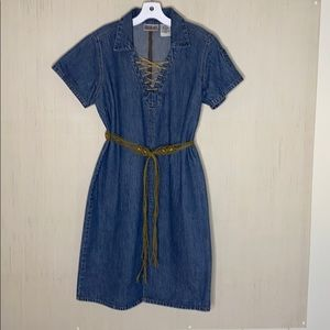 VTG BILL BLASS Denim Boho Hippie Shirt Dress